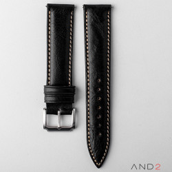 Kingsley Black Mania Leather Strap 20mm (Beige Stitch)