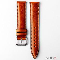 Kingsley Medium Brown Leather Strap 20mm (Beige Stitch)