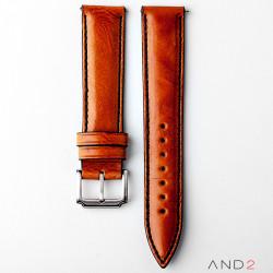 Kingsley Medium Brown Leather Strap 20mm (Black Stitch)