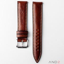 Kingsley Cognac Leather Strap 20mm (Beige Stitch)
