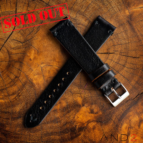 AND2 Laguna Black Mania Leather Strap 20mm (Black V-Stitching)