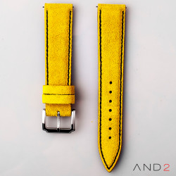 AND2 Riva Yellow Suede Leather Strap (Black Stitch)