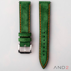 AND2 Kingsley Green Forest Suede Leather Strap